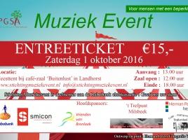 Tickets voor het Muziekevent op diverse plekken te koop